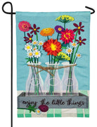 Linen Floral Milk Bottles Decorative Garden Flag
