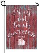 Linen Friends and Family Gather Decorative Garden Flag