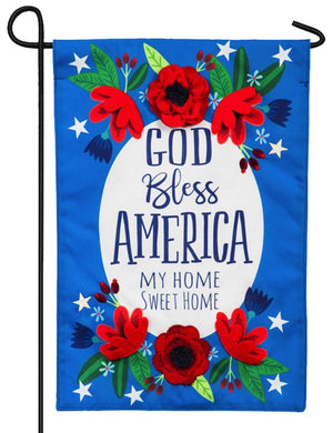 Linen God Bless America Decorative Garden Flag