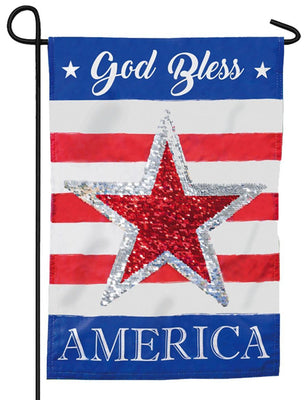 Linen God Bless America Reversible Sequins Garden Flag