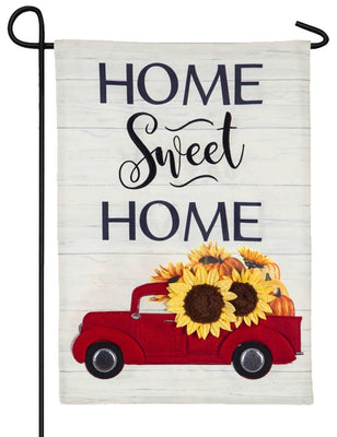 Linen Harvest Red Truck Decorative Garden Flag