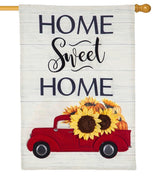 Linen Harvest Red Truck Decorative House Flag