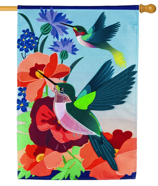 Linen Hummingbird Meadow Decorative House Flag - I AmEricas Flags