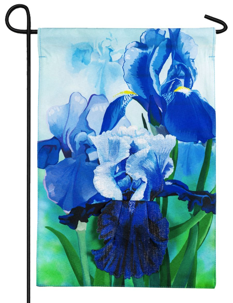 Linen Irises Decorative Garden Flag