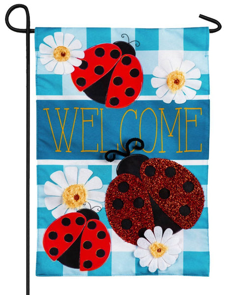 Linen Ladybug Plaid Welcome Decorative Garden Flag