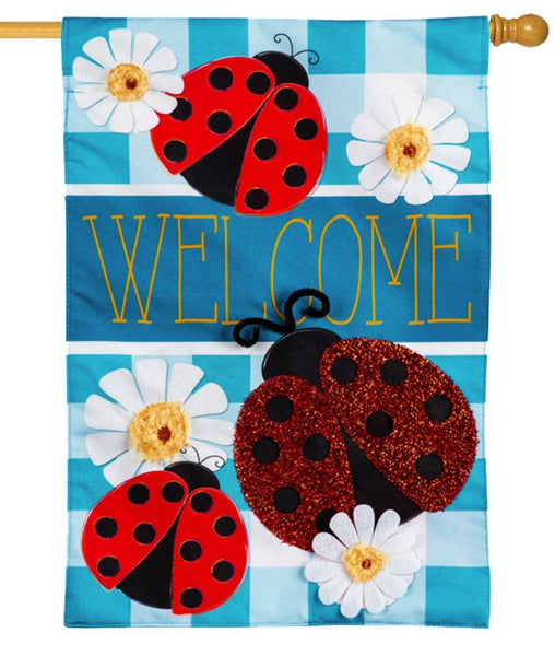 Linen Ladybug Plaid Welcome Decorative House Flag
