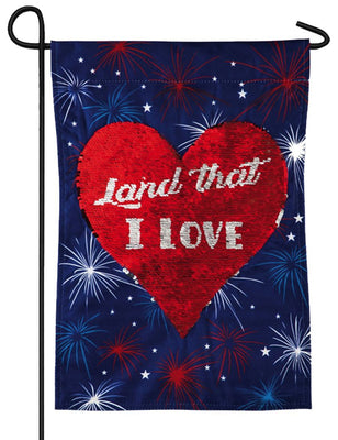 Linen Land That I Love Reversible Sequins Garden Flag