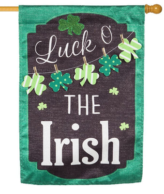 Linen Luck O' The Irish Chalkboard Decorative House Flag