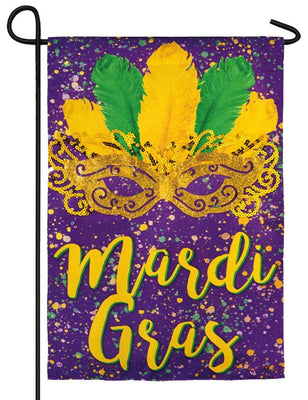 Linen Mardi Gras Gold Mask Decorative Garden Flag