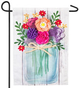 Linen Floral Mason Jar Decorative Garden Flag