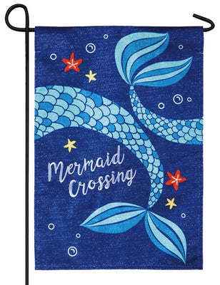 Linen Mermaid Crossing Decorative Garden Flag