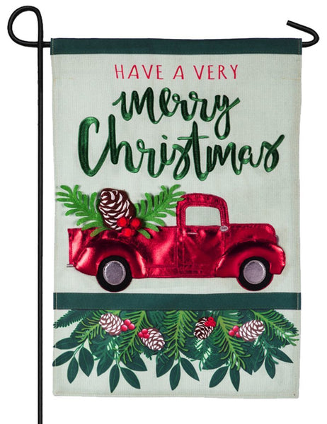 Linen Merry Christmas Red Truck Decorative Garden Flag