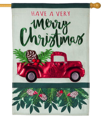 Linen Merry Christmas Red Truck Decorative House Flag