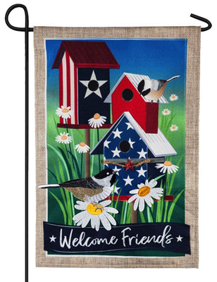Linen Patriotic Birdhouses Decorative Garden Flag