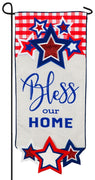 Linen Patriotic Bless Our Home Applique Garden Banner