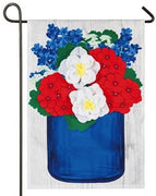 Linen Patriotic Floral Mason Jar Decorative Garden Flag