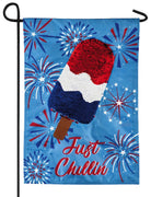 Linen Patriotic Popsicle Reversible Sequins Garden Flag