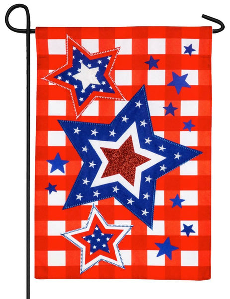 Linen Patriotic Star Trio Decorative Garden Flag - I AmEricas Flags