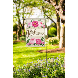 Linen Peony Welcome Decorative Garden Flag Live