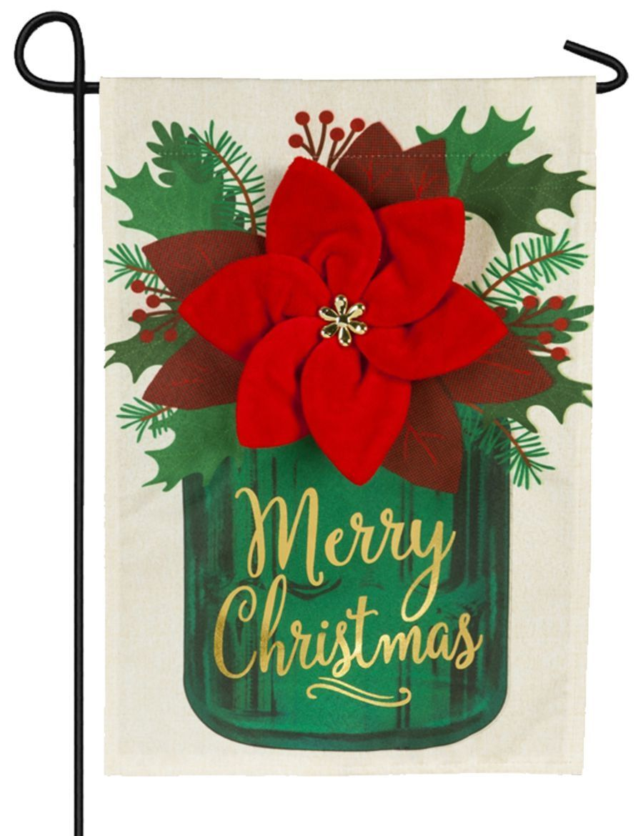 Linen Poinsettia Mason Jar Decorative Garden Flag