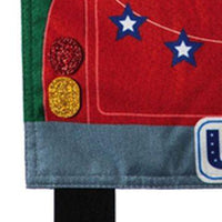Linen Red Liberty Pickup Truck Decorative Garden Flag Detail 1