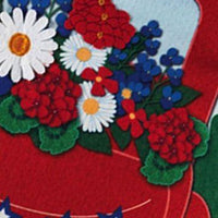 Linen Red Liberty Pickup Truck Decorative Garden Flag Detail 2