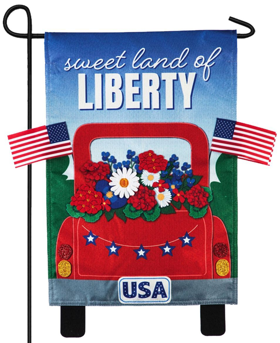 Linen Red Liberty Pickup Truck Decorative Garden Flag