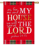 Linen Serve the Lord Embellished Decorative House Flag