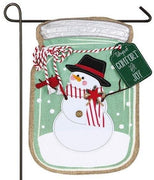 Linen Snowman Mason Jar Decorative Garden Flag
