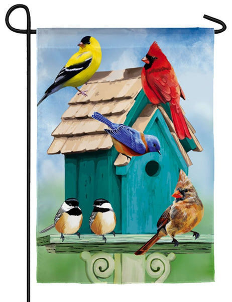 Linen Songbirds Birdhouse Decorative Garden Flag