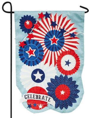Linen Stars and Stripes Celebration Decorative Garden Flag