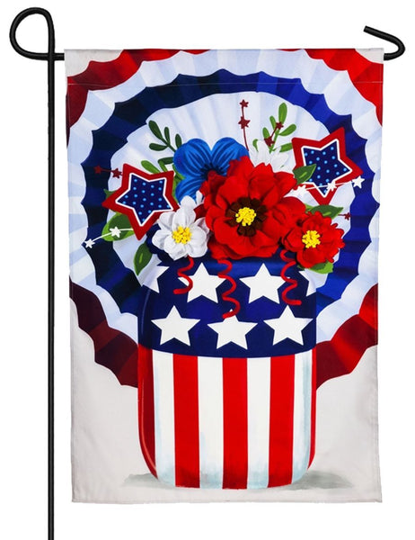 Linen Stars and Stripes Mason Jar Decorative Garden Flag NEWPRODUCT - I AmEricas Flags