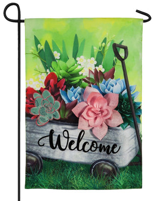 Linen Succulents Wagon Decorative Garden Flag
