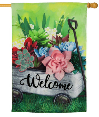Linen Succulents Wagon Decorative House Flag