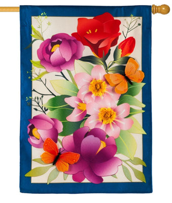 Linen Summer Floral Decorative House Flag