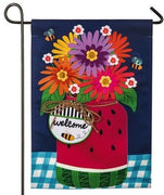 Linen Watermelon Mason Jar Decorative Garden Flag