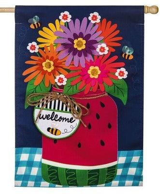 Linen Watermelon Mason Jar Decorative House Flag