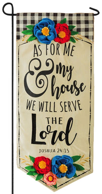 Linen We Will Serve The Lord Applique Garden Banner