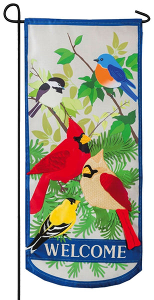 Linen Welcome Songbirds Applique Garden Banner