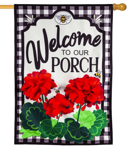 Linen Welcome To Our Porch Decorative House Flag