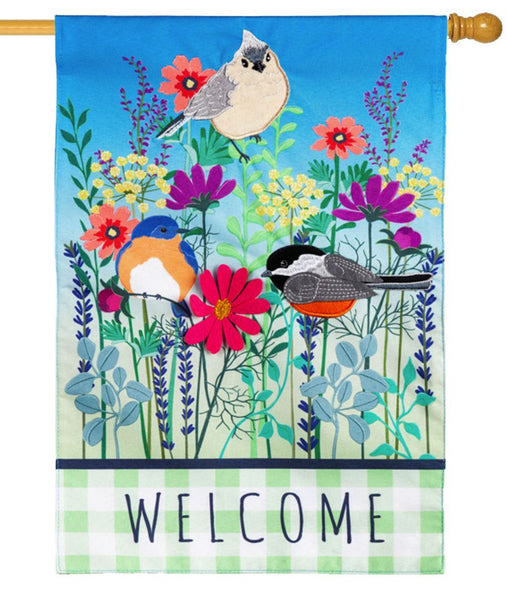 Linen Wildflowers Welcome Decorative House Flag
