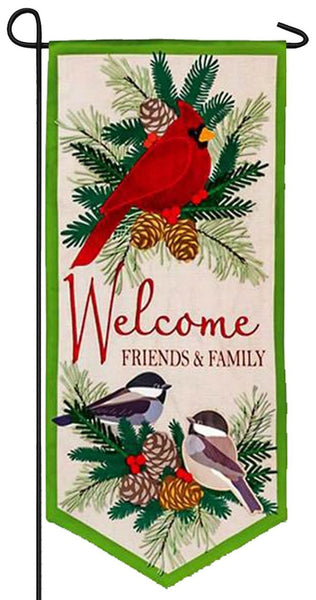 Linen Welcome Winter Birds Applique Garden Banner