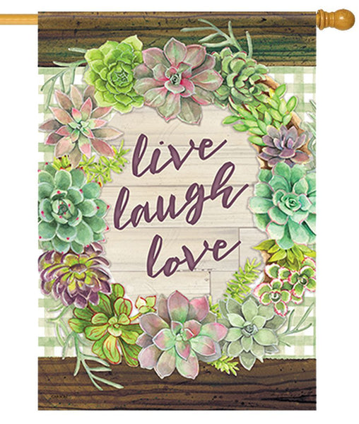 Live Laugh Love Succulents House Flag