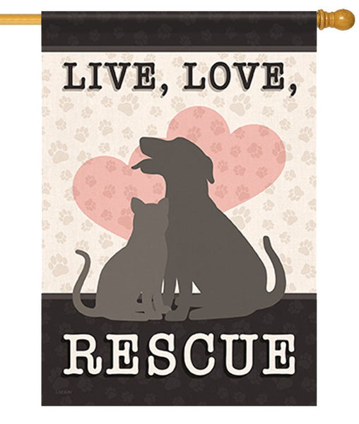 Live Love Rescue House Flag