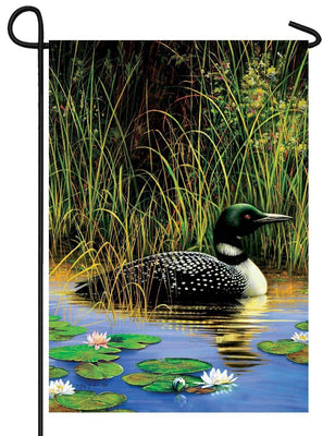 Loon and Water Lilies Garden Flag