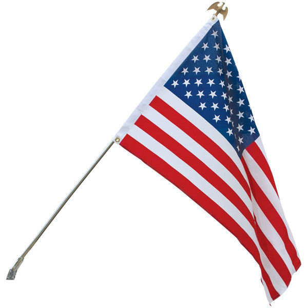 Low Cost Printed Polyester USA Flagpole Kit Silver