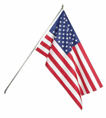 Low Cost Printed Polyester USA Flagpole Kit White