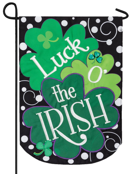 Luck O' the Irish Double Applique Garden Flag - All Decorative Flags/Holidays/St. Patrick's Day Flags - I AmEricas Flags