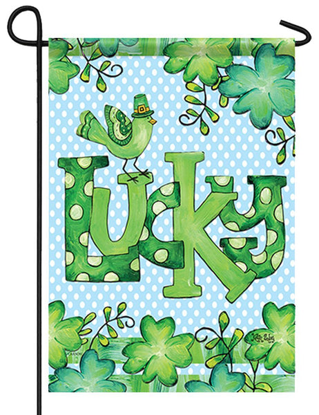 Lucky Little Bird and Shamrocks Garden Flag