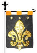 Majestic Fleur de Lis Double Applique Garden Flag